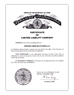 Limited Liability Corporation certificate issued November 20, 2008